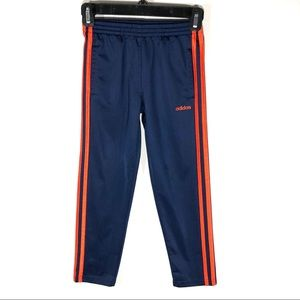 Adidas Youth Jogger Pants With Red-Orange Stripes